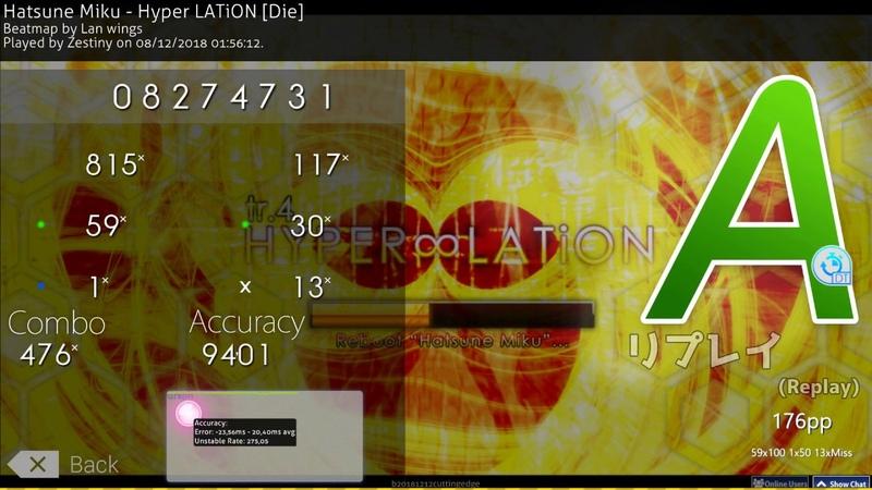 Osu! | Zestiny | Hatsune Miku - Hyper LATiON [Die] DT 94.01% PASS 8.14⭐ 303 BPM