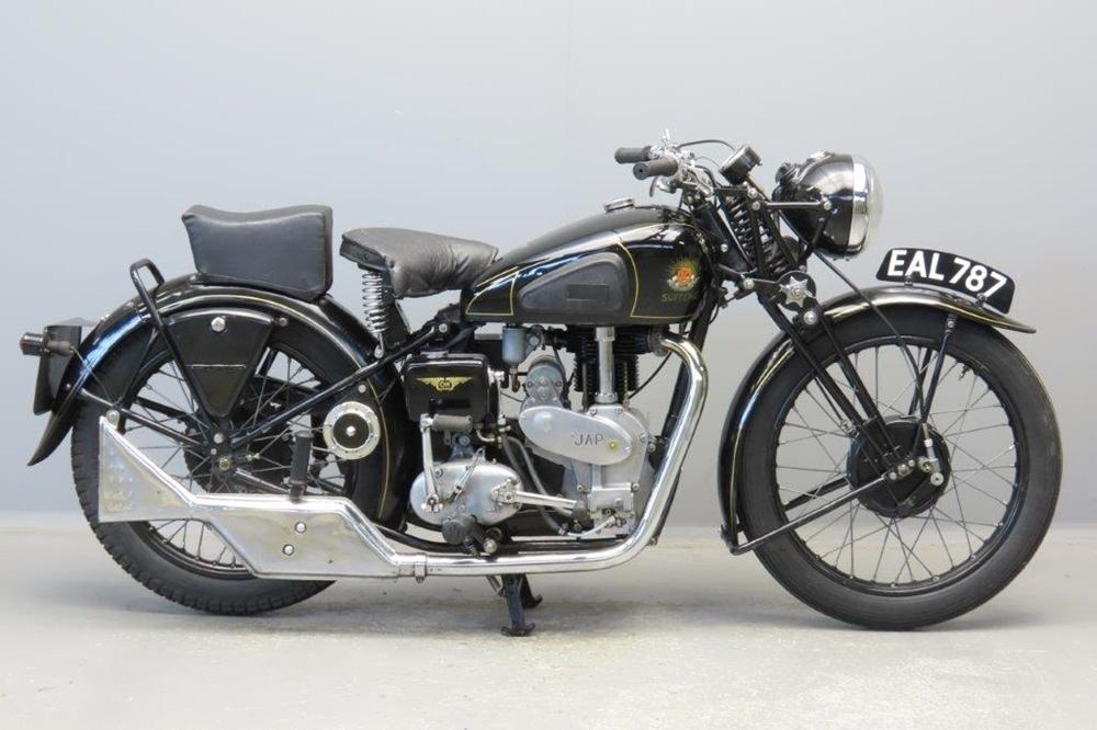 Старинный мотоцикл O.K Supreme 1938