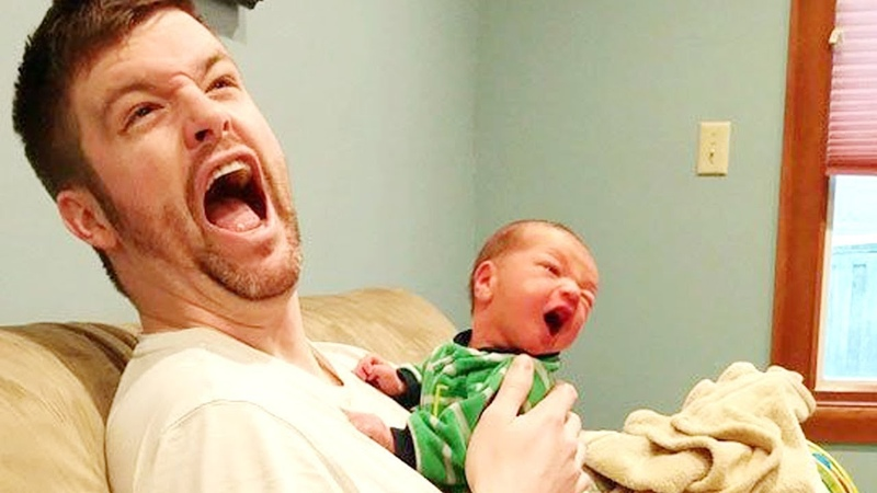 Daddy Takes Care of Baby - What Crazy Things Happens