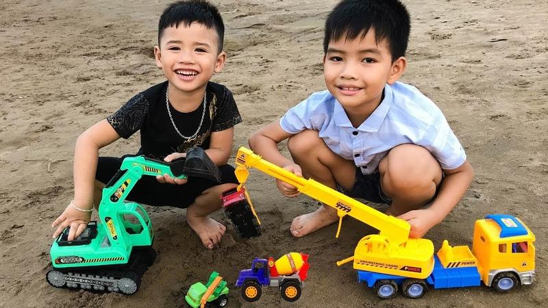 Trò Chơi Máy Xúc Máy Cẩu Giải Cứu Ô Tô Và Khủng Long Gặp Nạn ♥ Min Min TV Minh Khoa