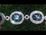 GIA Natural Blue Star Sapphire Diamond 18k White Gold Tennis Bracelet - A141777