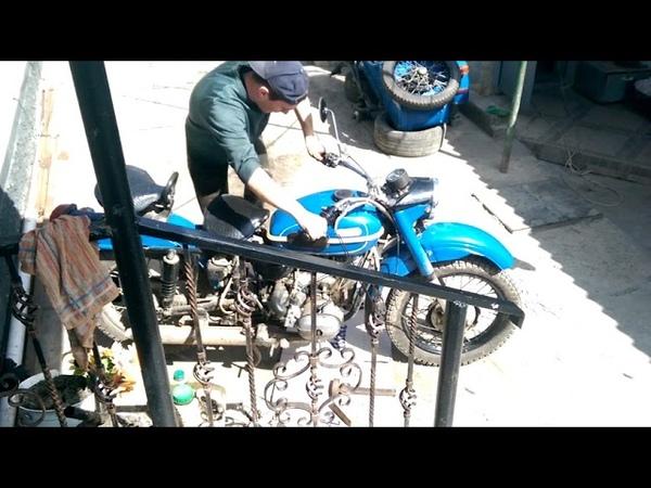 Звук мотоцикла Урал без глушителя. Sound of a motorcycle Ural.