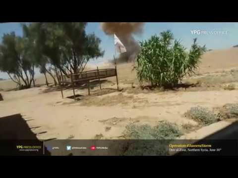 Moments SDF fighters detonate an ISIS SVBIED in Deir al-Zour, Northern Syria