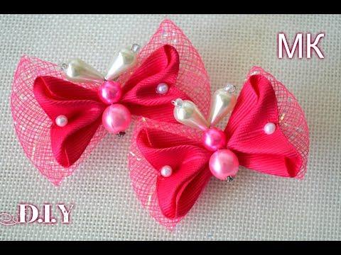 Бабочки из регилина и лент/Kanzashi Butterfly Ribbon/D.I.Y