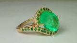 Movie Star Bride! 10.20tcw Colombian Emerald &amp Diamond Engagement Ring 14k