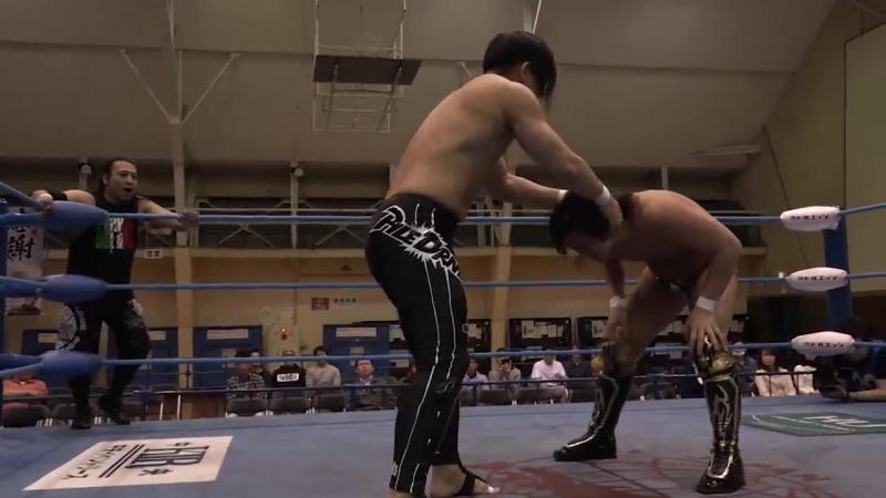Atsushi Maruyama, Yohei Nakajima vs. Hikaru Sato, MAZADA (AJPW - Champion Carnival 2018 - Day 5)