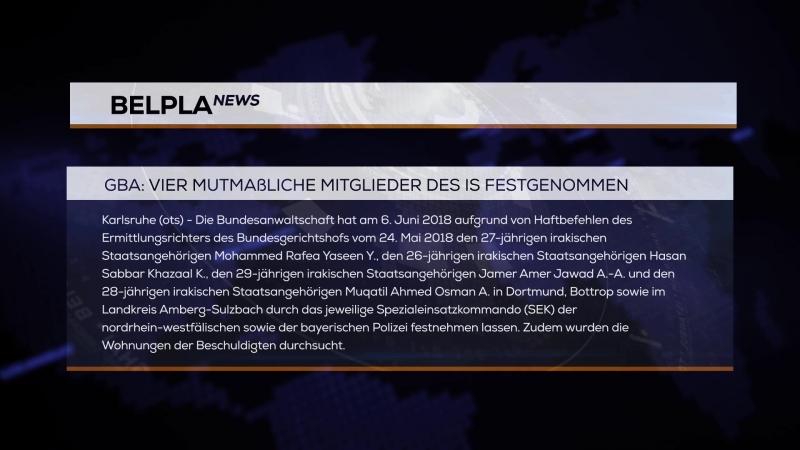 GBA_Vier mutmaßliche Mitglieder DES IS festgenommen_07_06_18