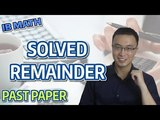 IB MATH - REMAINDER AND COMPLETING THE SQUARE - PAST PAPER 2 - 2016 - QUESTION 8