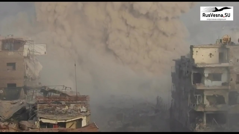 Мощнейший взрыв_ Как русский «Змей Горыныч» сжигает боевиков в Дамаске. Yarmouk