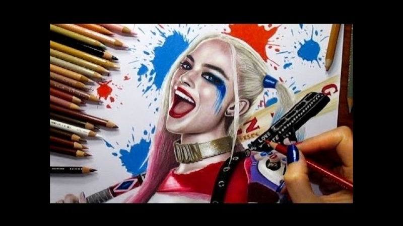 Speed Drawing- Harley Quinn - Margot Robbie in Suicide Squad - Jasmina Susak drawing