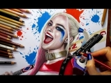 Speed Drawing- Harley Quinn - Margot Robbie in Suicide Squad - Jasmina Susak #drawing