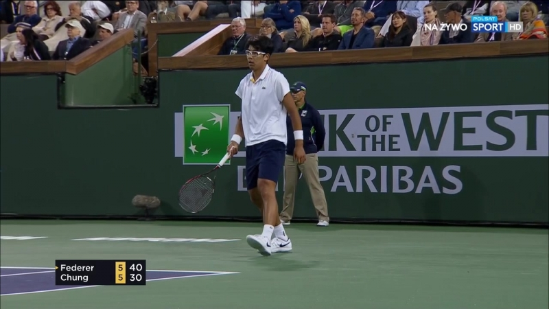 Р. Федерер vs Х.Чон. Четвертьфинал. BNP Paribas Open 2018