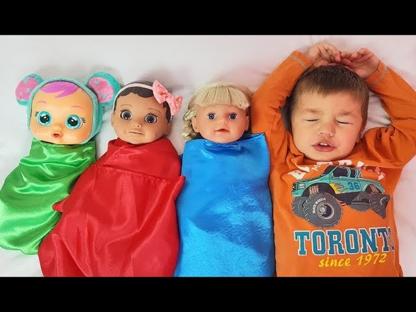 Kid Pretend Play with Dolls, Are you sleeping brother John songs