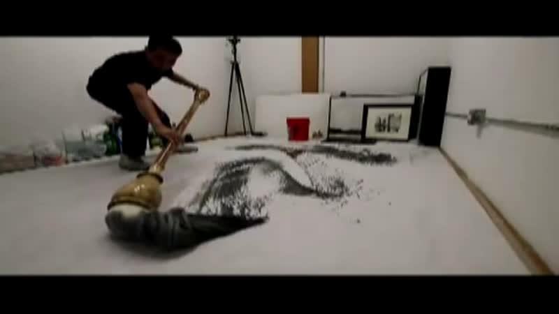 Каллиграфия гигантской китайской кистью