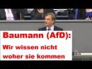 Baumann (AfD) - Wir wissen nicht woher sie kommen!