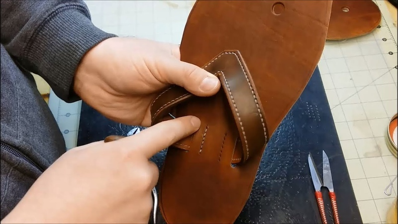 Dyeing, Cementing and Sewing the Straps - Let's Make Leather Flip Flops! - Part 6