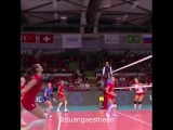 Goncharova spike ball to Eda's head bounce breaks in the roof. Semifinal Turkey vs Russia Montreux Masters 2018 8 September 2018