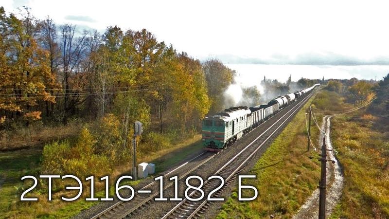 2ТЭ116-1182 (Б) с чётным грузовым поездом