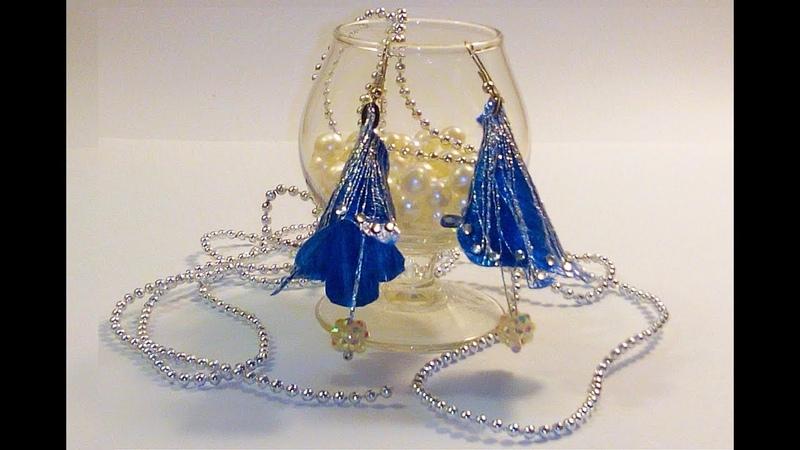 Как_сделать_серьги_Проклеенная_атласная_лента Ornamentation from glued satin ribbon