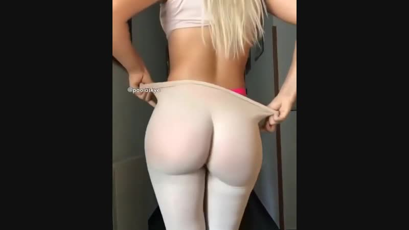 White Yoga Pants Reveals Bright Thong and Ass