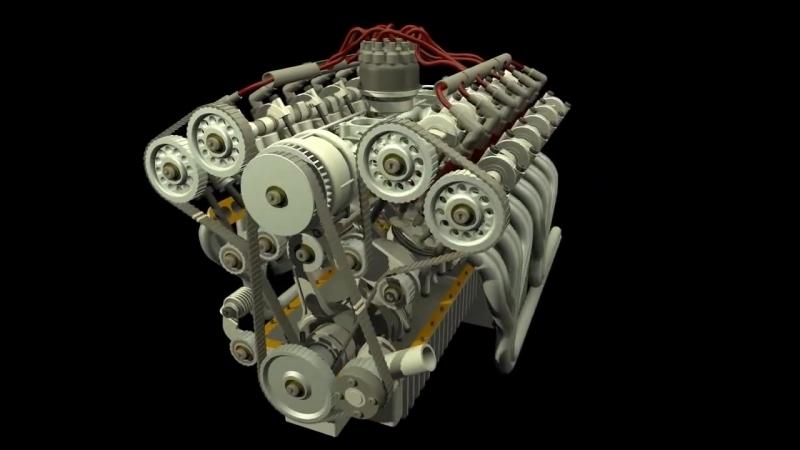 S4, S6, V6, V8 V12 Engine Animation