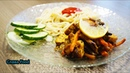 Жареное филе курицы в маринаде из соевого соуса с кунжутом и овощами