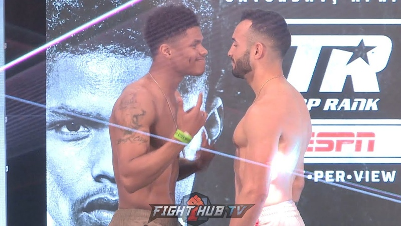SHAKUR STEVENSON TAUNTS CHRISTOPHER DIAZ DURING WEIGH IN FACE OFF - DIAZ RESPONDS!