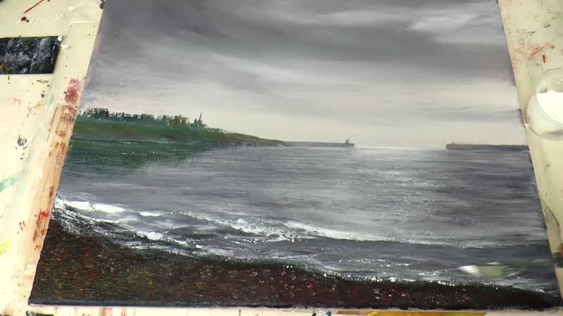 Небо перед дождем. Гравий. Блики на воде. Акрил