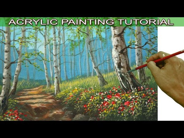 Acrylic Landscape Painting Tutorial Birch Tree Forest with Flowers by JMLisondra