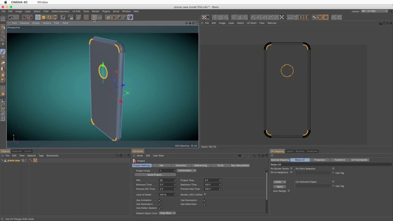UV Unwrapping Curved parts of a 3D model in Cinema 4D