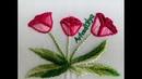 Hand embroidery: Tulip Stitching- Step by step | Tulipanes | Bordado a mano| Artesd'Olga
