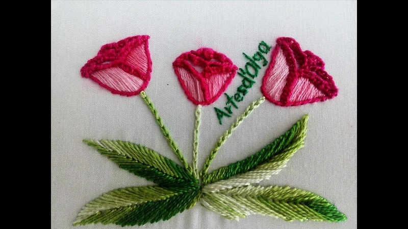 Hand embroidery Tulip Stitching- Step by step | Tulipanes | Bordado a mano| ArtesdOlga