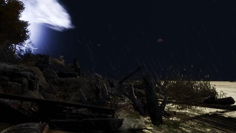 Metro Exodux дождь и гром на берегу ночью(Тайга)