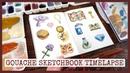 Pixel Art Game Inventory 🔶 Gouache sketchbook painting timelapse