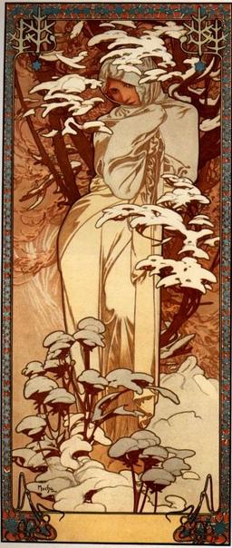 История одного шедевра. Времена года (Весна, Лето, Осень, Зима), Альфонс Муха 1896г. Цветная литография. Акварель, тушь, перо. Пано знаменитого чешского художника в стиле Арт Нуво. Это был