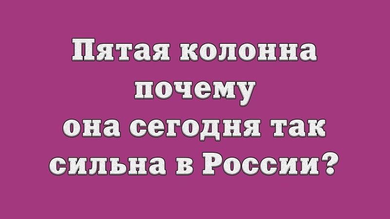 Пятая колонна почему она сегодня так сильна в России