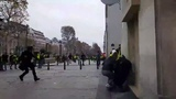 FRANCE PARIS yellow vest protestor get shot with a flashball