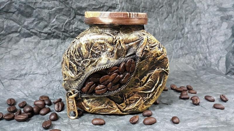 Декор банки кофе! Подарок своими руками, Мастер класс!