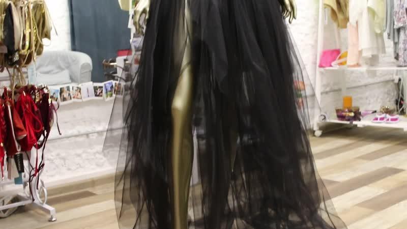 Черная юбка из бархата и фатина от