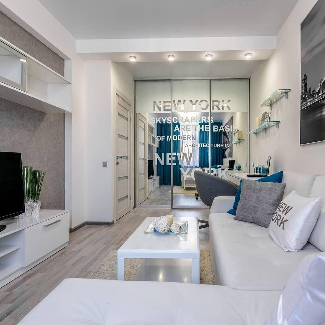 Проект дизайна гостиной, площадь 15,6 кв.