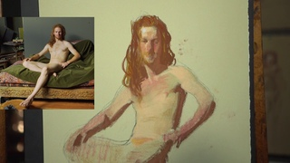 Sherrie McGraw Paints Male Nude in Pastel