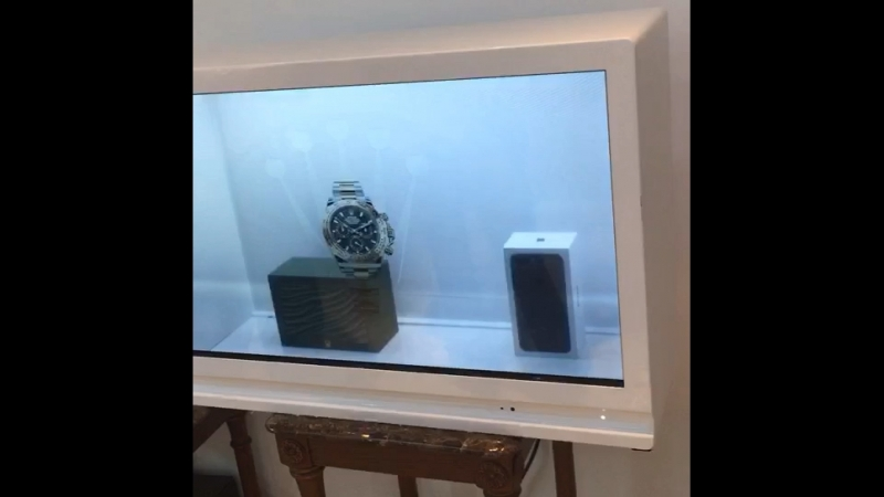 32inch transparent lcd displays showcase with touch for product advertising