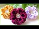 Канзаши/Цветы из атласной ленты/DIY Satin Ribbon Flower/Flor de Fita de setim/Ola ameS DIY