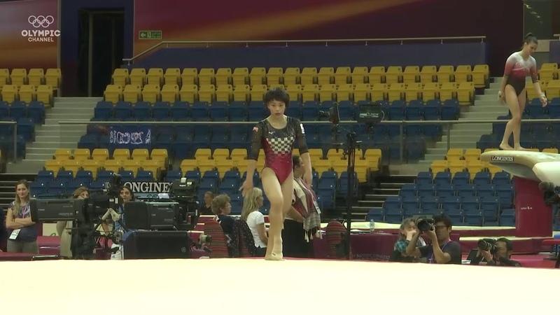 Mai Murakami on floor during training at the 2018 Gymnastics World Championships
