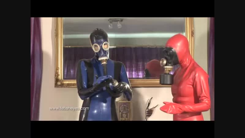 Latex catsuit gas mask