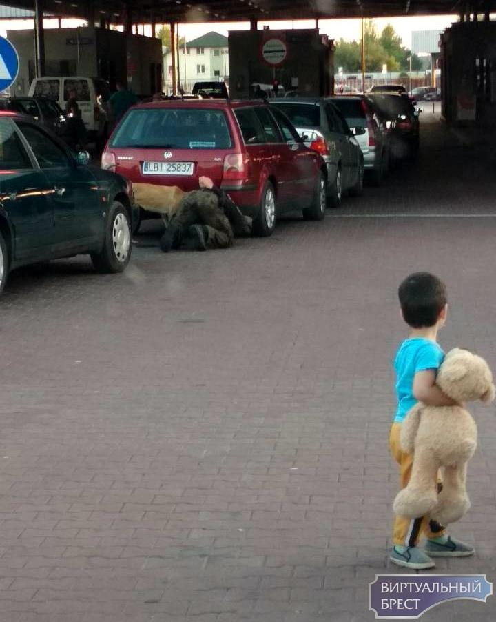 Необычное фото - мальчик смотрит, как польский таможенник досматривает автомобиль