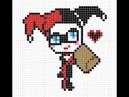 Рисуем по клеточкам 4 Харли Квинн Harley QuinnPIXEL ART