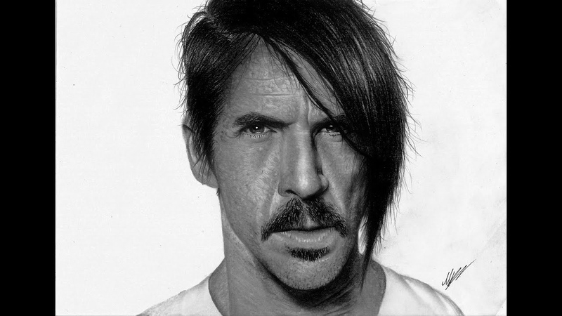 Anthony Kiedis the singer of red hot chilli peppers hyper-realistic pencil drawing ( Achilles Mant )