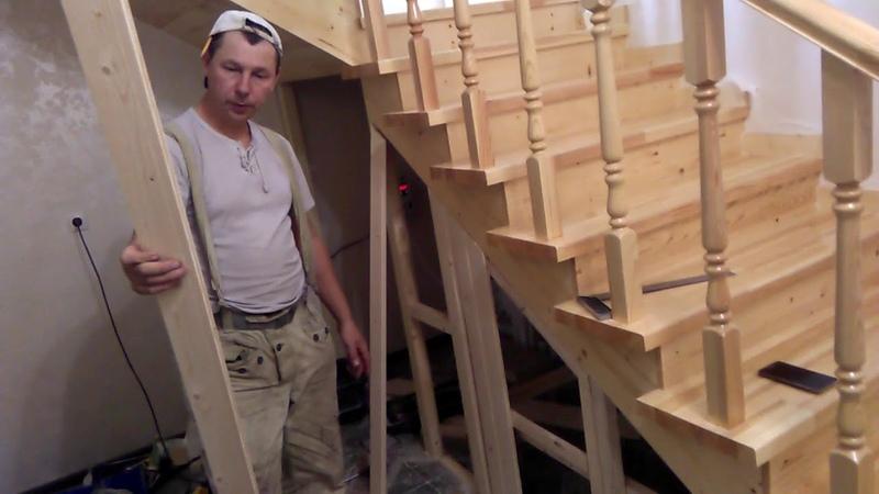 Изготовление лестницы деревянной на металлокаркасе