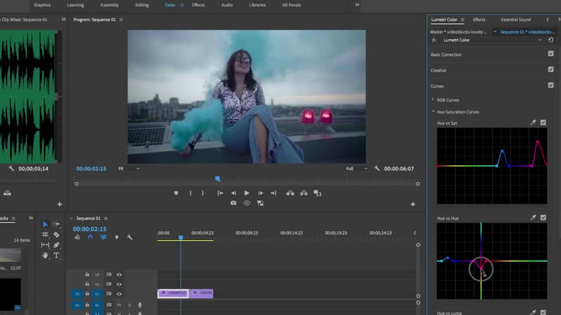 How to Color Grade with Lumetri Hue Saturation Cur